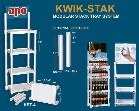Stack Trays. Kwik-Stak modular stack tray displays for retail stores and trade show exhibits